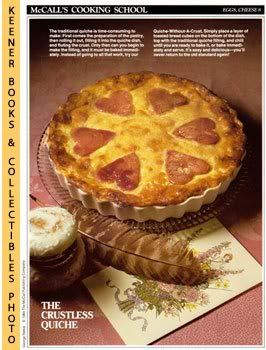 Image for McCall's Cooking School Recipe Card: Eggs, Cheese 8 - Quiche-Without-A-Crust (Replacement McCall's Recipage or Recipe Card For 3-Ring Binders)