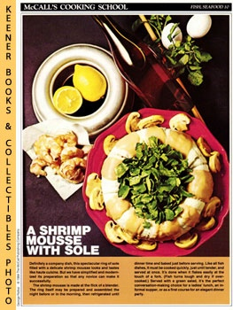 Image for McCall's Cooking School Recipe Card: Fish, Seafood 10 - A Shrimp Mousse With Sole (Replacement McCall's Recipage or Recipe Card For 3-Ring Binders)
