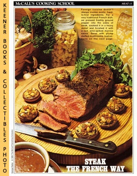 Image for McCall's Cooking School Recipe Card: Meat 13 - Steak With Marrow Sauce And Stuffed Mushrooms (Replacement McCall's Recipage or Recipe Card For 3-Ring Binders)