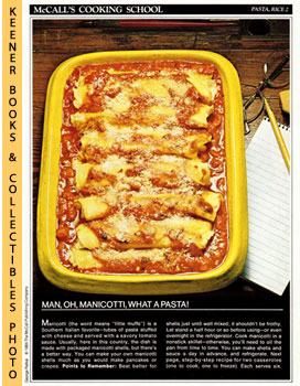 Image for McCall's Cooking School Recipe Card: Pasta, Rice 2 - Baked Manicotti With Cheese Filling (Replacement McCall's Recipage or Recipe Card For 3-Ring Binders): McCall's Cooking School Cookbook Series