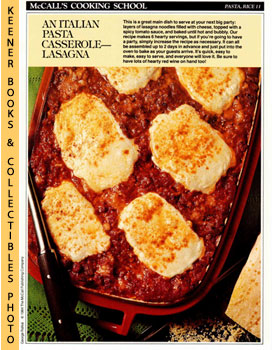 Image for McCall's Cooking School Recipe Card: Pasta, Rice 11 - Lasagna (Replacement McCall's Recipage or Recipe Card For 3-Ring Binders): McCall's Cooking School Cookbook Series