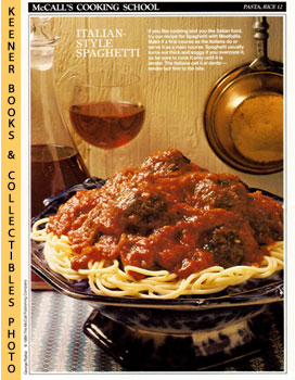Image for McCall's Cooking School Recipe Card: Pasta, Rice 12 - Spaghetti And Meatballs (Replacement McCall's Recipage or Recipe Card For 3-Ring Binders): McCall's Cooking School Cookbook Series
